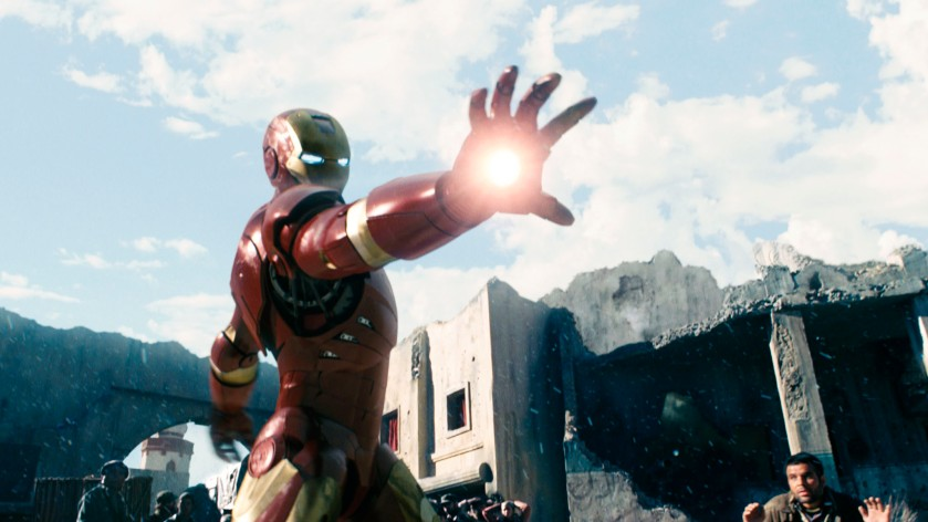Iron Man (right) in battle, in the movie